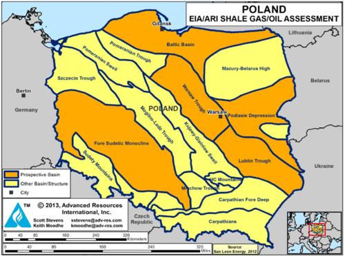 Untersuchte Schiefergas-Sedimentbecken in Polen
