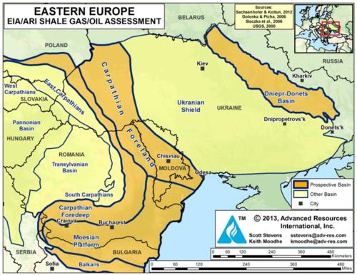Potentielle Schiefergas-Sedimentbecken in Osteuropa